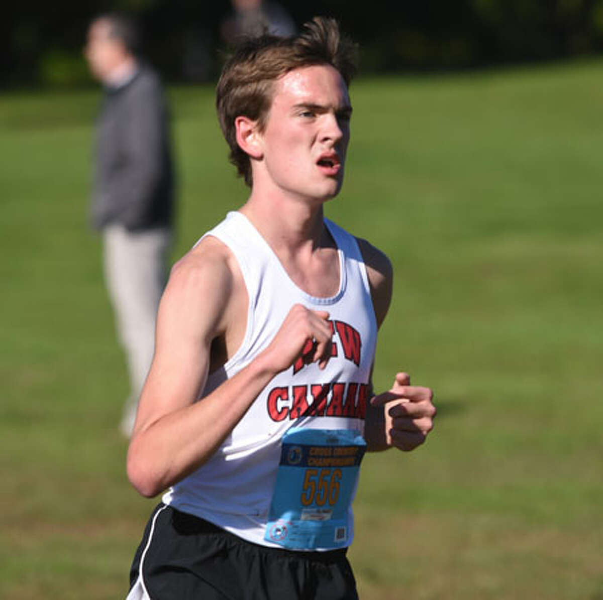 Andrew Malling in action during the 2018 FCIAC boys cross country championship race. - Dave Stewart photo