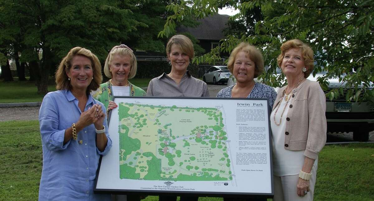 Members of the New Canaan Garden Club next to the new kiosk, from left, Muffy Lewis, Katie Stewart, Garden Club President Ellen Zumbach, Becky Barlow and Judy Neville. - Contributed photo