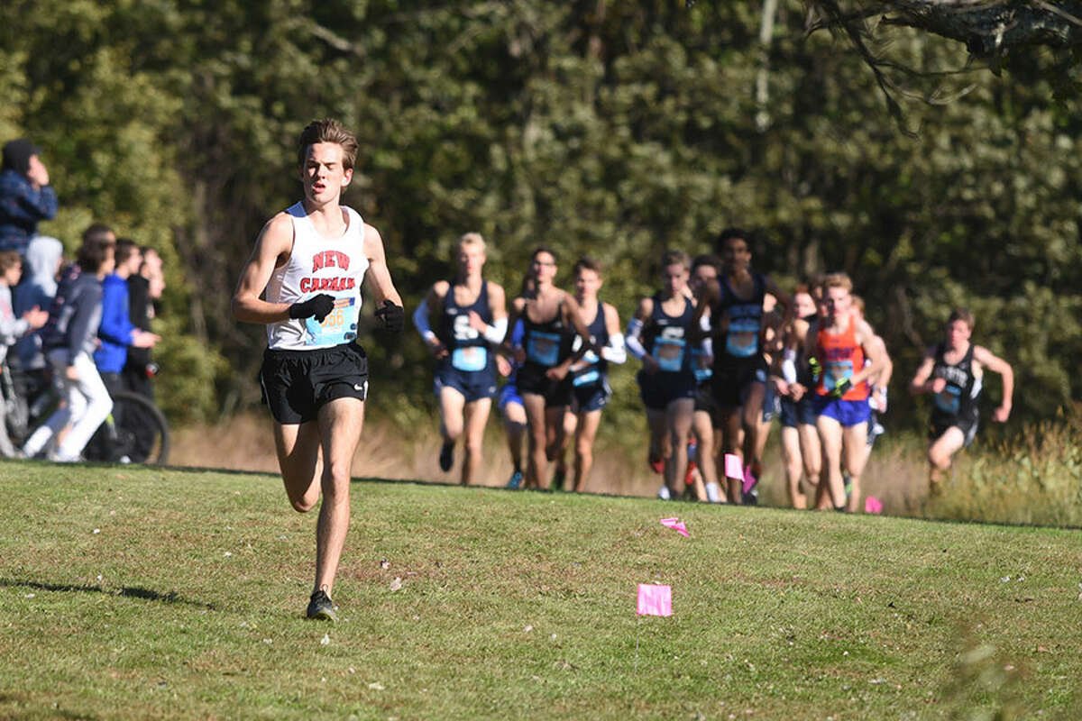 New Canaan senior Andrew Malling leads the pack en route to the title at the FCIAC cross country championships Thursday in Waveny Park. - Dave Stewart photo