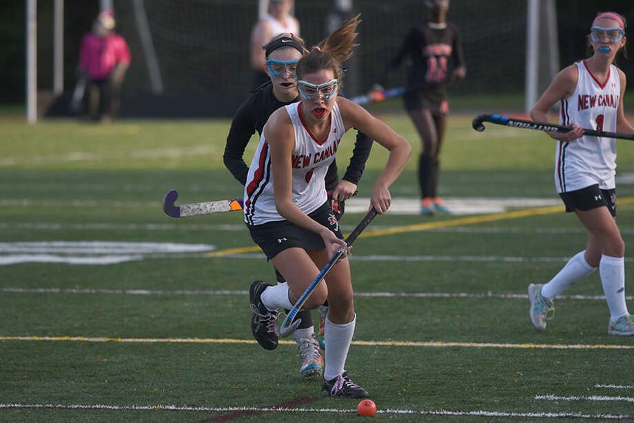 New Canaan's Emily Knight started the scoring during the Rams' 4-0 win in New Milford on Saturday. — Dave Stewart photo