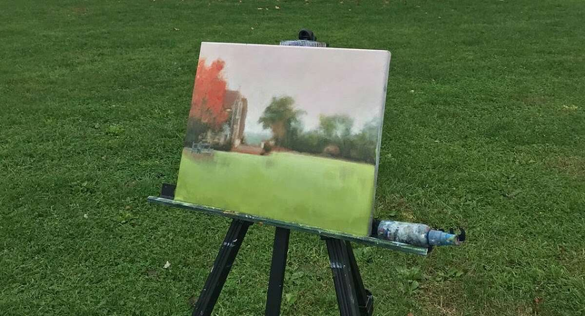 A complete canvas painted outdoors at Waveny Park. - Contributed photo