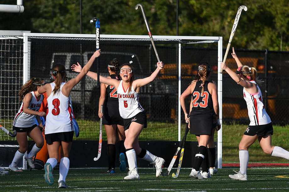 New Canaan senior Lily Farriss celebrates after scoring a goal in the second half of the Rams' 3-0 win over Stamford on Tuesday. — Dave Stewart photo