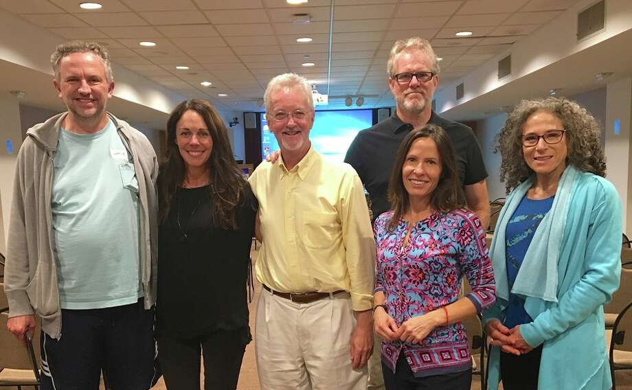 New Canaan: A recent workshop gave attendees tools for mindful speaking and listening. From left, Wayne Dodge, Community Mindfulness Project founders Erika Long, Will Heins and Michelle Seaver, and Robin Feinberg; back row is Mark Braithwaite. — Contributed photo