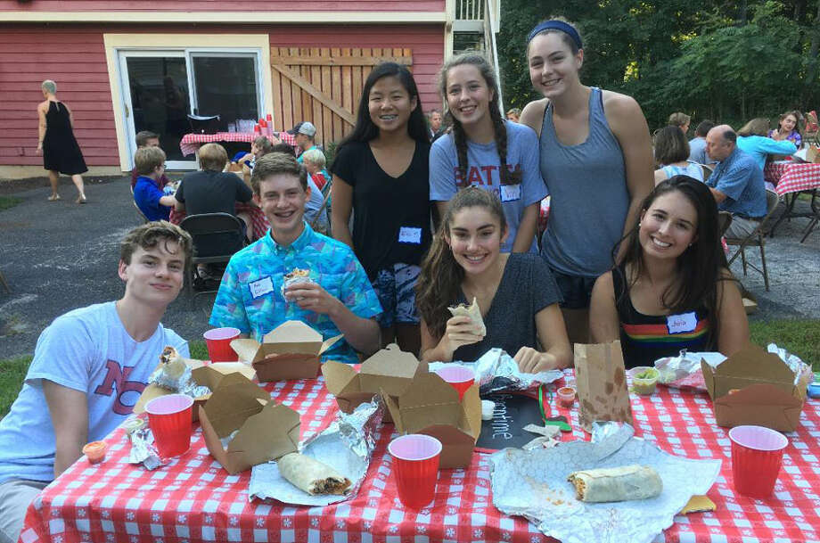 Church youth activities at the First Presbyterian Church of New Canaan are taking off with lots of events planned. From left, Ben Dooley, Max Gifford, Eva Spangler, Vivi Reeves, Michelle LaBadie, Kate Reeves, and Julia Sulkowski. — Contributed photo