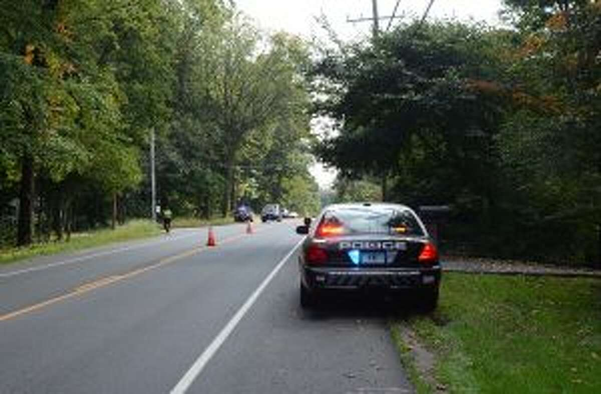 The truck safety checkpoint on New Norwalk Road / Rt. 123 on Oct. 10. - Greg Reilly photo