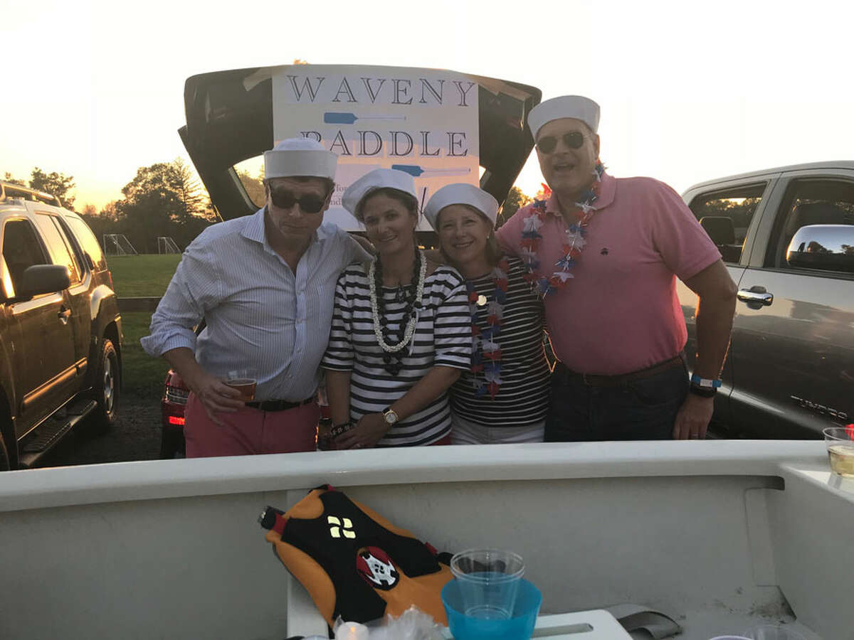Christopher and Arianne Kolb, Kim and Rich Alexander were among the tailgaters supporting the Waveny Park Conservancy.