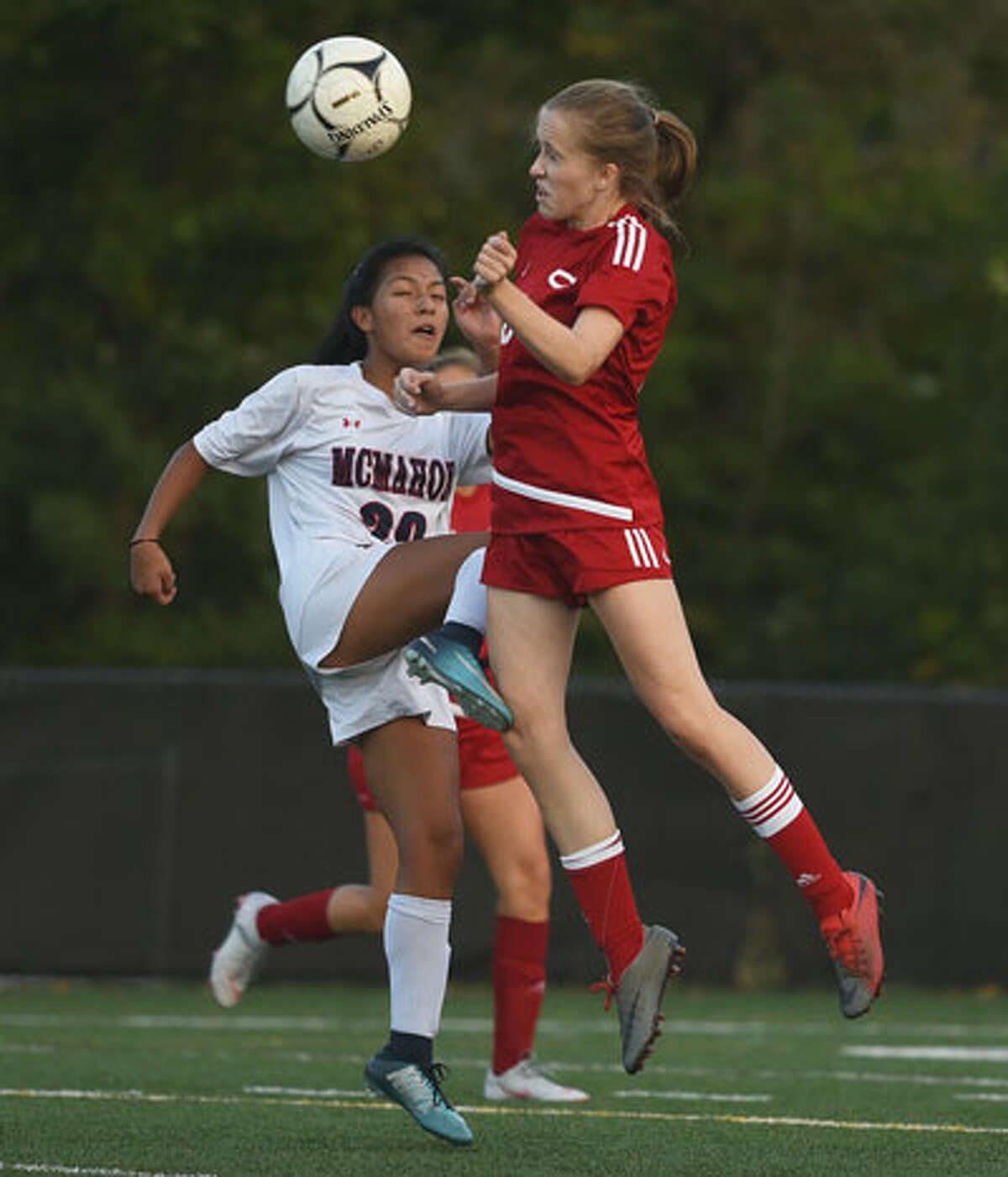 The Rams' Katherine Lisecky takes to the air. - Dave Stewart photo