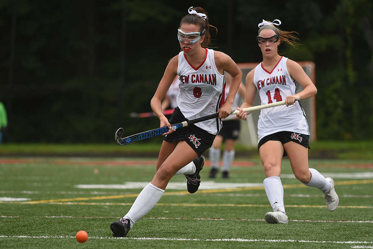 New Canaan senior co-captain Celia Sokolowski, shown in action during a game at Dunning Field, was one of four Rams to score in a 4-1 victory over Westhill on Saturday. - Dave Stewart photo