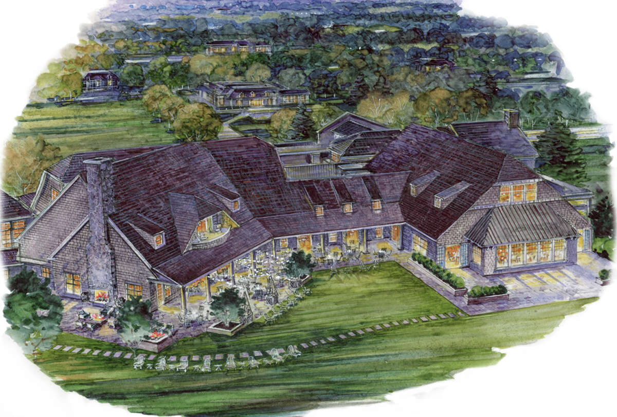 As the Country Club of New Canaan marks its 125th anniversary it has also broken ground on an expanded facility project that will run through 2019. Above is a rendering of the planned clubhouse as seen from the north. To the right is the clubhouse, circa 1900, and below is a postcard shot of the Country Club and Links, circa 1915. A story about The Country Club of New Canaan - Then and Now.