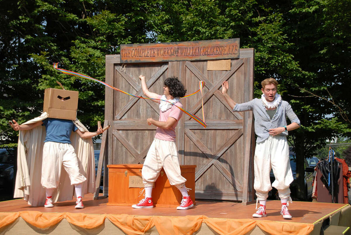 Complete Works of William Shakespeare abridged performance with, from left, Omen Sade, Brett Alters, Ella Raymont.