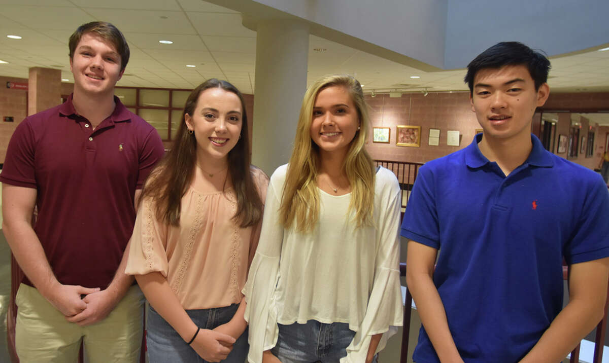 Four New Canaan High School seniors have been named National Merit Semifinalists. New Canaan High School seniors from left, Conor West, Erin Spiess, Natasha Tchir, and Daniel Lu were named National Merit Scholarship Semifinalists. - Contributed photo