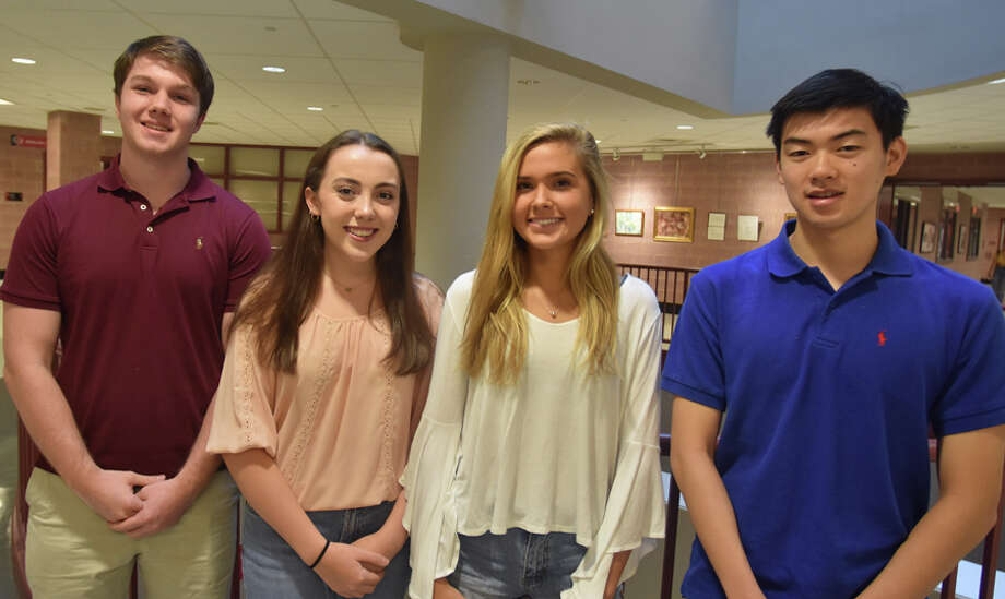 Four New Canaan High School seniors have been named National Merit Semifinalists. New Canaan High School seniors from left, Conor West, Erin Spiess, Natasha Tchir, and Daniel Lu were named National Merit Scholarship Semifinalists. — Contributed photo