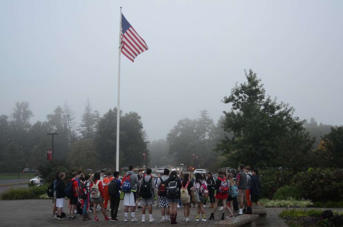 See You at the Pole was the call for a group of New Canaan High School students to meet for a few minutes of prayer in front of the school building before school hours on Wednesday morning, Sept. 26. - Greg Reilly photo