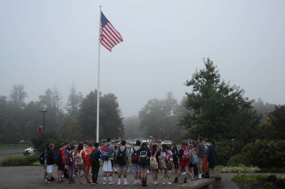 See You at the Pole was the call for a group of New Canaan High School students to meet for a few minutes of prayer in front of the school building before school hours on Wednesday morning, Sept. 26. — Greg Reilly photo