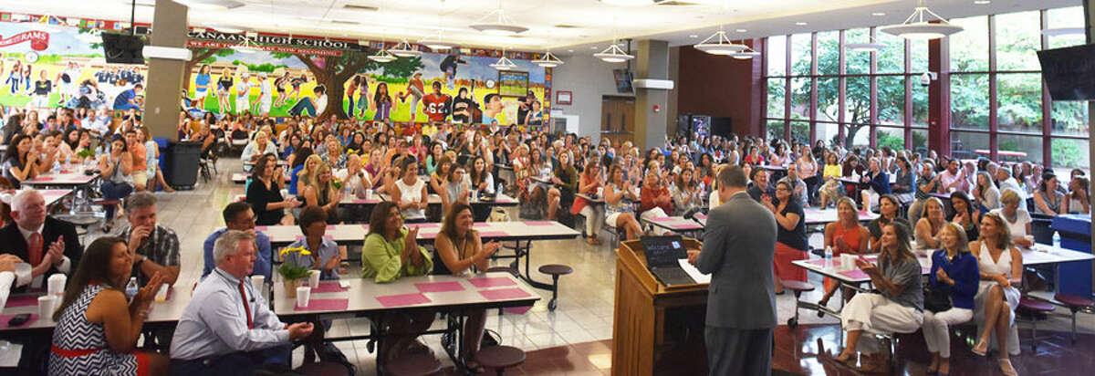 The New Canaan Public Schools welcomed back returning teachers, faculty and administrators Aug. 27, 2018 at their annual Convocation. Teachers, faculty, administrators attend annual Convocation at New Canaan High School Aug. 27. - Contributed photo