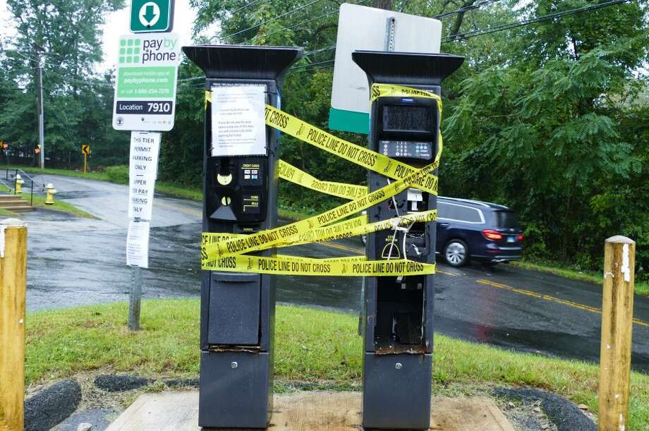 Vandals destroyed the two parking meters at Talmadge Hill Train Station. The replacements, costing $19,500, will be located on the train platform. — Grace Duffield photo