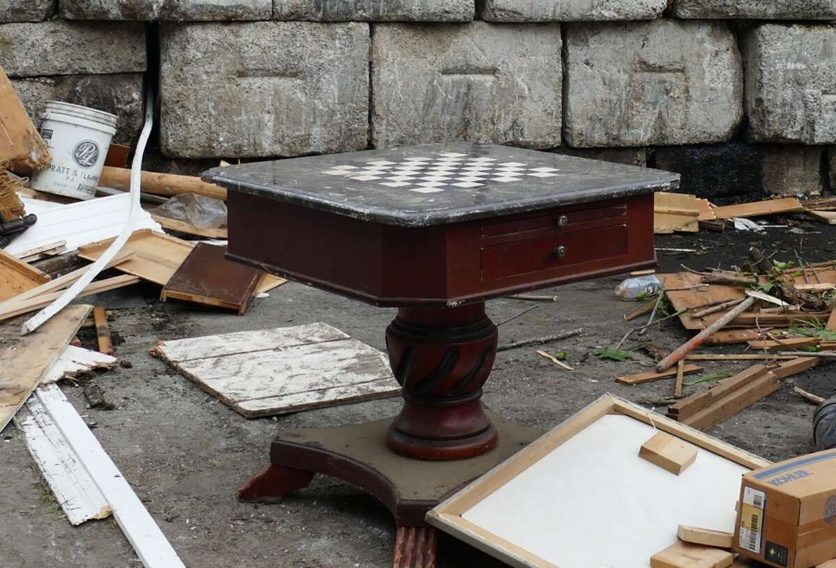 This table has been discarded at the bulky waste area of the transfer station. If somebody wants this table, he or she would not be allowed to remove it. Some people want to change that. - Grace Duffield photo