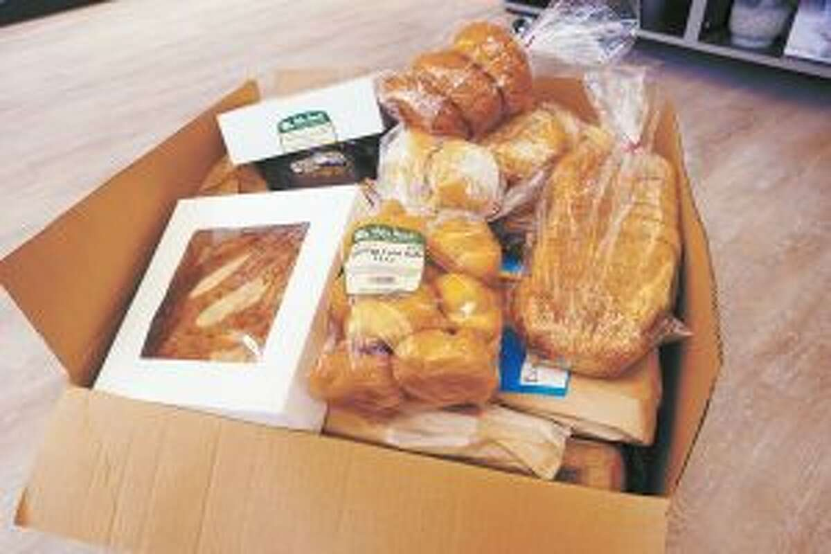 New Canaan: Reducing waste and fighting hunger is 'a win-win.' These baked goods at Walter Stewart's Market on Sept. 1 were about to be picked up by Food Rescue. - Sarah Klearman photo
