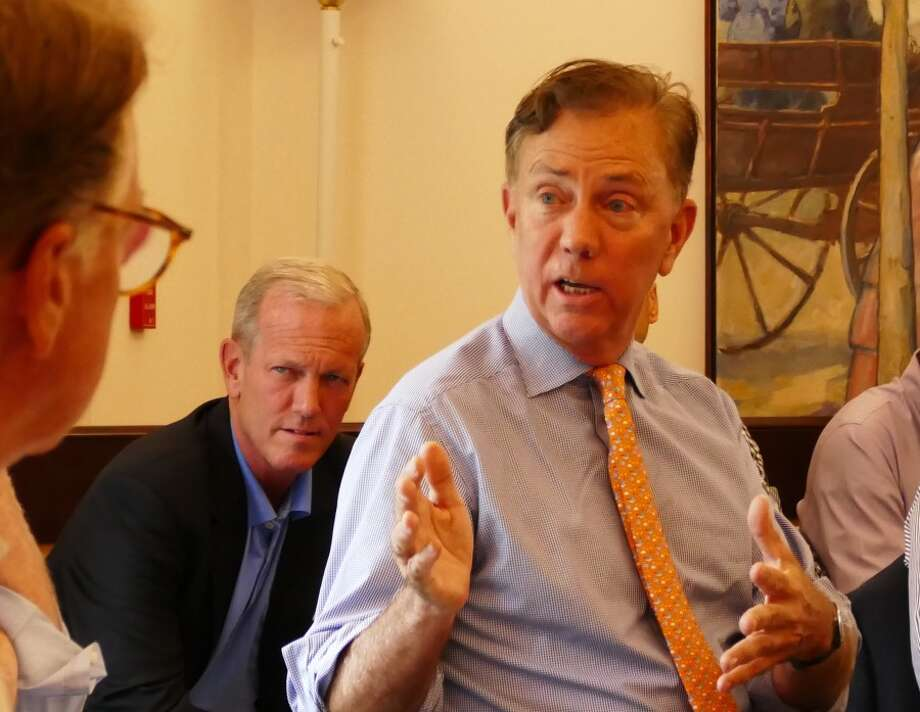 Democratic candidate for governor Ned Lamont talks at Advertiser coffee. — Grace Duffield photo