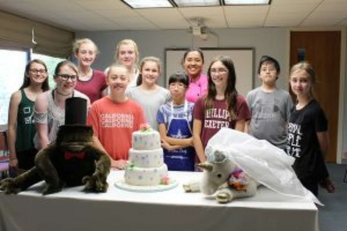 Here is an upcoming event at the New Canaan Library. Participants at New Canaan Library in a summer program in which they learned to bake a wedding cake from scratch.- Contributed photo