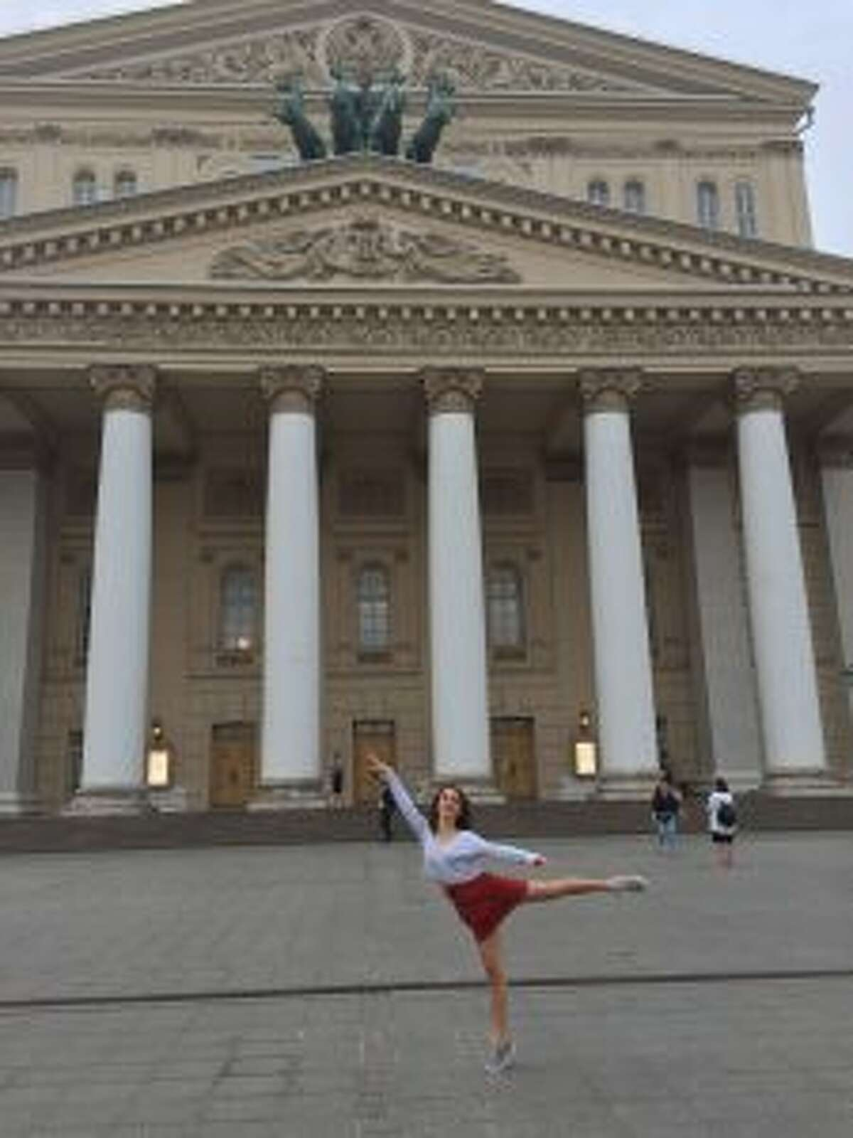 Ava Edmonds in front of The Bolshoi Theatre in Moscow during the summer of 2018.