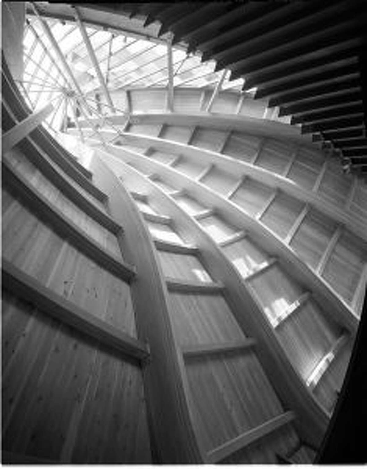 Interior shot by Pedro E. Guerrero (1917-2012) of United Church of Rowayton, Roof Detail, Rowayton, CT, 1962. Joseph P. Salerno, Architect. Silver Gelatin Print. -Copyright the Estate of Pedro E. Guerrero and courtesy Edward Cella Gallery