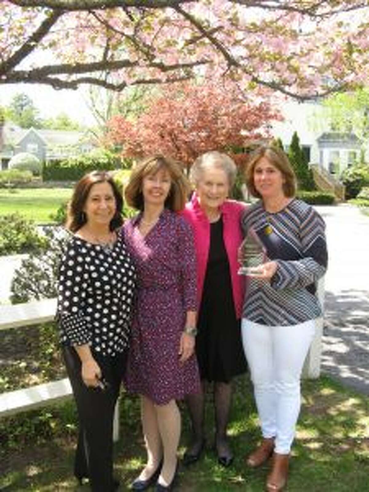 New Canaan: Thrift Shop, and Hospice volunteers of New Canaan recently received Visiting Nurse Awards. Thrift Shop, and Hospice volunteers of New Canaan recently received Visiting Nurse Awards. New Canaan resident, Nancy Schullman, far right, received the agency's highest volunteer honor, The Carol B. Bauer Community Spirit Award, for her outstanding service as a Hospice volunteer. She is pictured here, from left, with Volunteer Coordinator, Laurie Petrasanta, agency CEO, Sharon Bradley, and Carol Bauer, for whom the award was named.- Contributed photo
