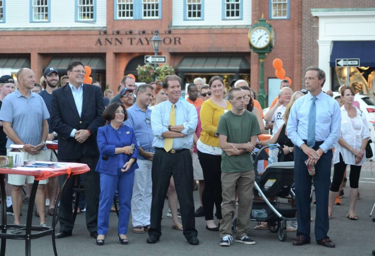 State Rep. Fred Wilms, at right with blue shirt and tie, at the Overdose Awareness Vigil on Aug. 30. - Greg Reilly photo