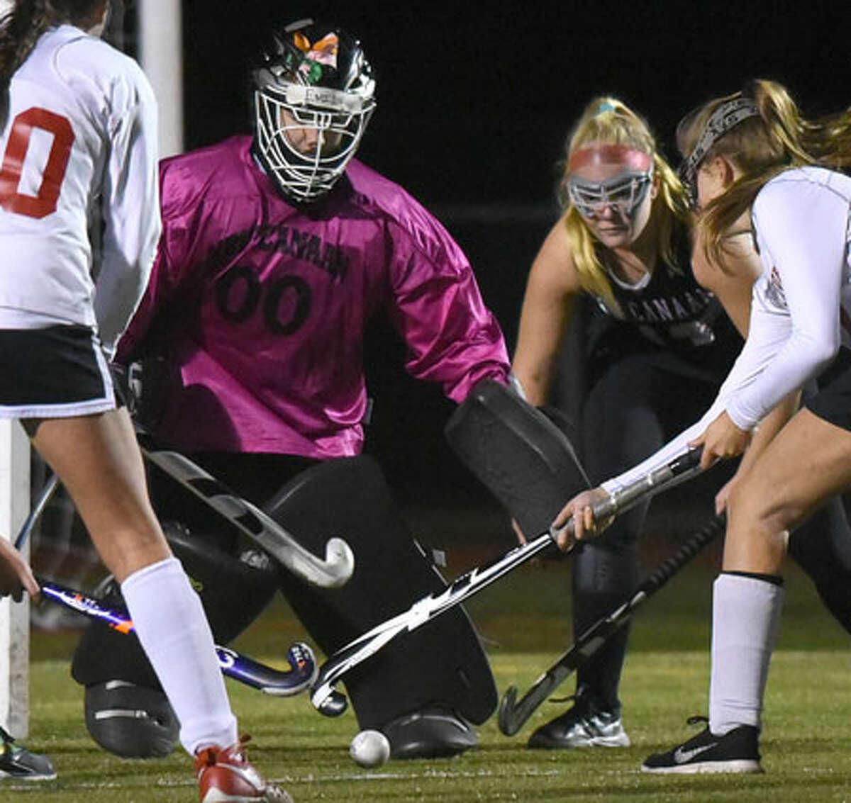 Goalie Emily Gaeta, a senior co-captain this fall, shuts down an opposing forward during the state tournament last year. - Dave Stewart photo