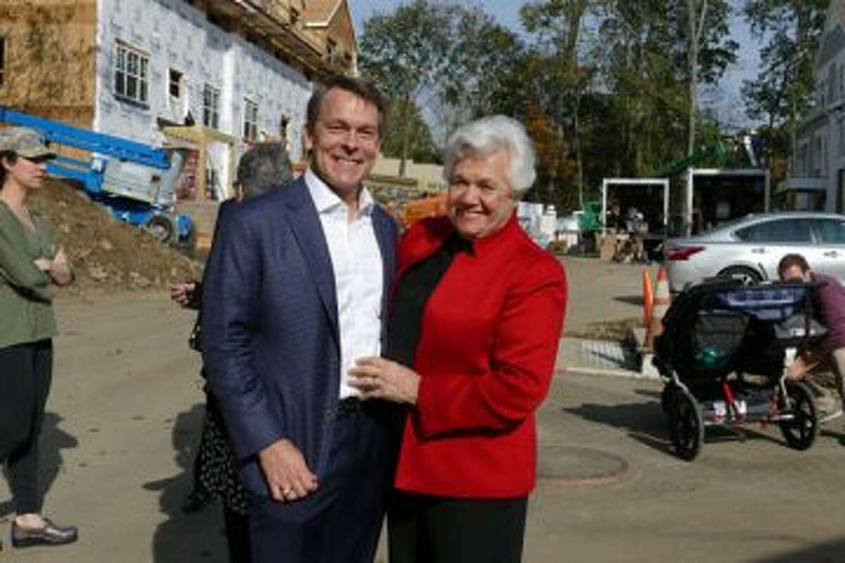 Canaan Parish project Co-Chairman Scott Hobbs,left, with board President Chris Hussey last December.- Greg Reilly photo