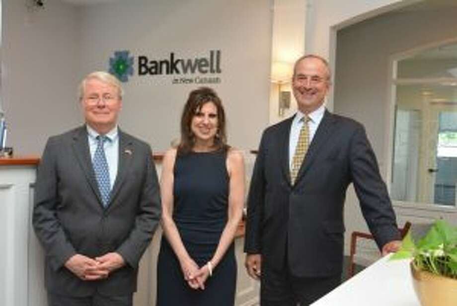 Bankwell, which has two locations in New Canaan, has given to the Ram Council Foundation. Bankwell CEO Chris Gruseke, right, with Joyce Sixsmith and Ram Council Board Member Robert Curry. — Contributed photo