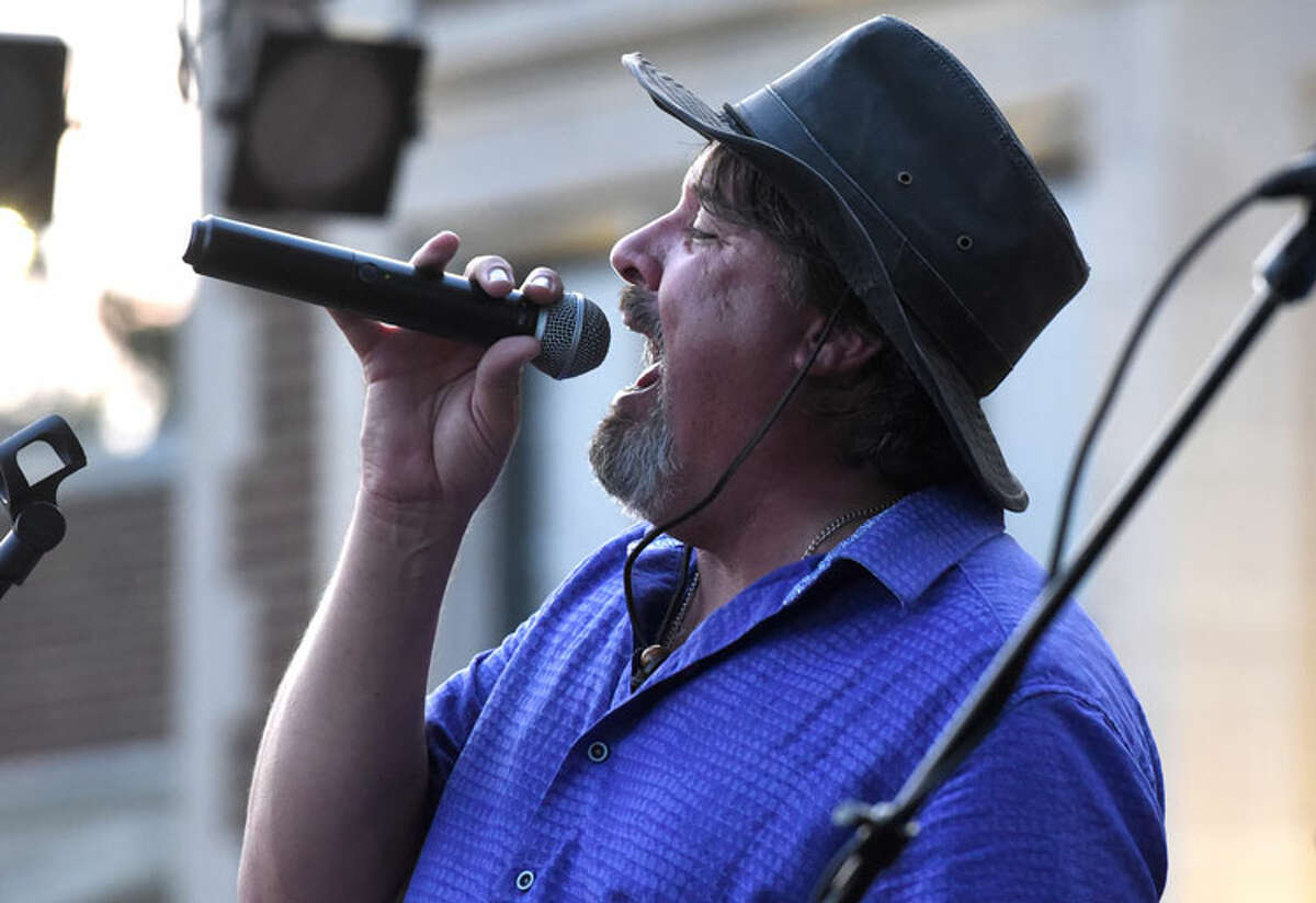 The Short Bus Band performs before a large crowd in Waveny Park on Wed., August 15. - Dave Stewart photos
