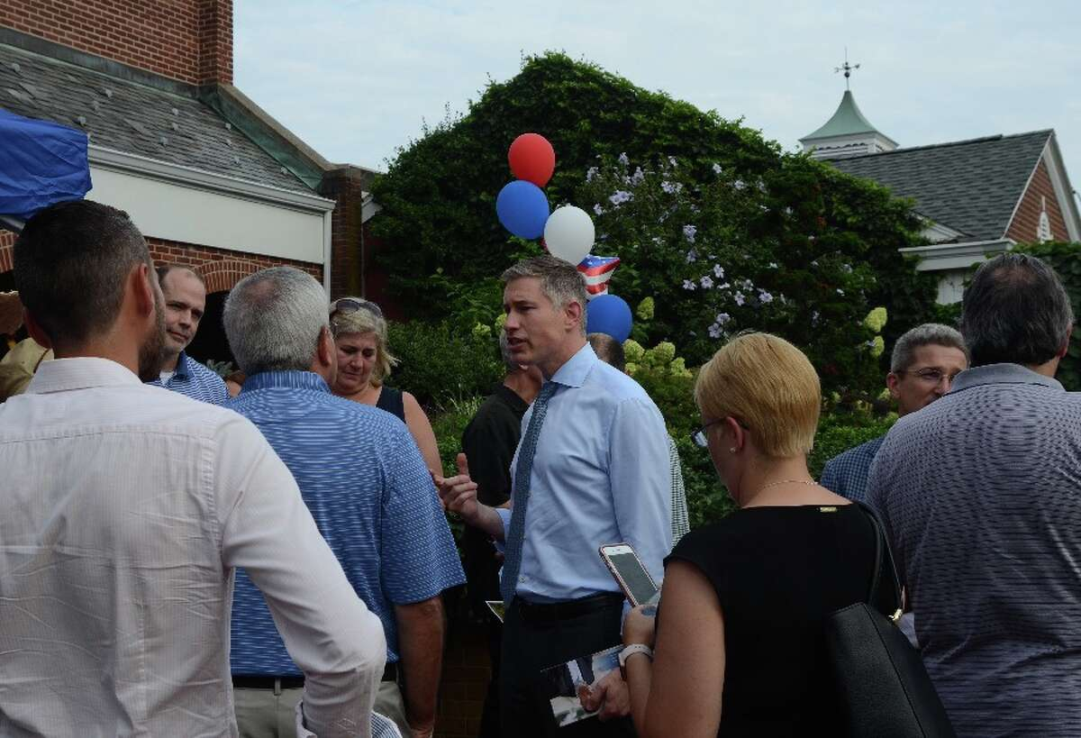 Republican candidate for governor Dave Stemerman drew a crowd.