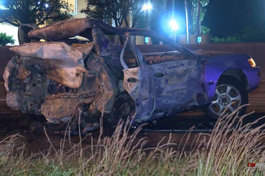 Man dies in fiery crash after car stops on the North Freeway in