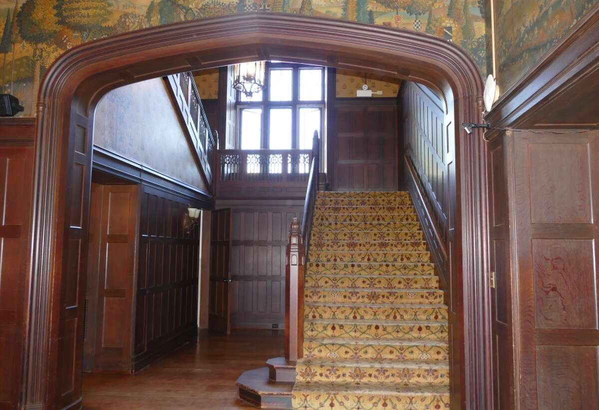 In Waveny House, next to this stairway is where the bird-cage elevator is proposed to go. - Grace Duffield photo