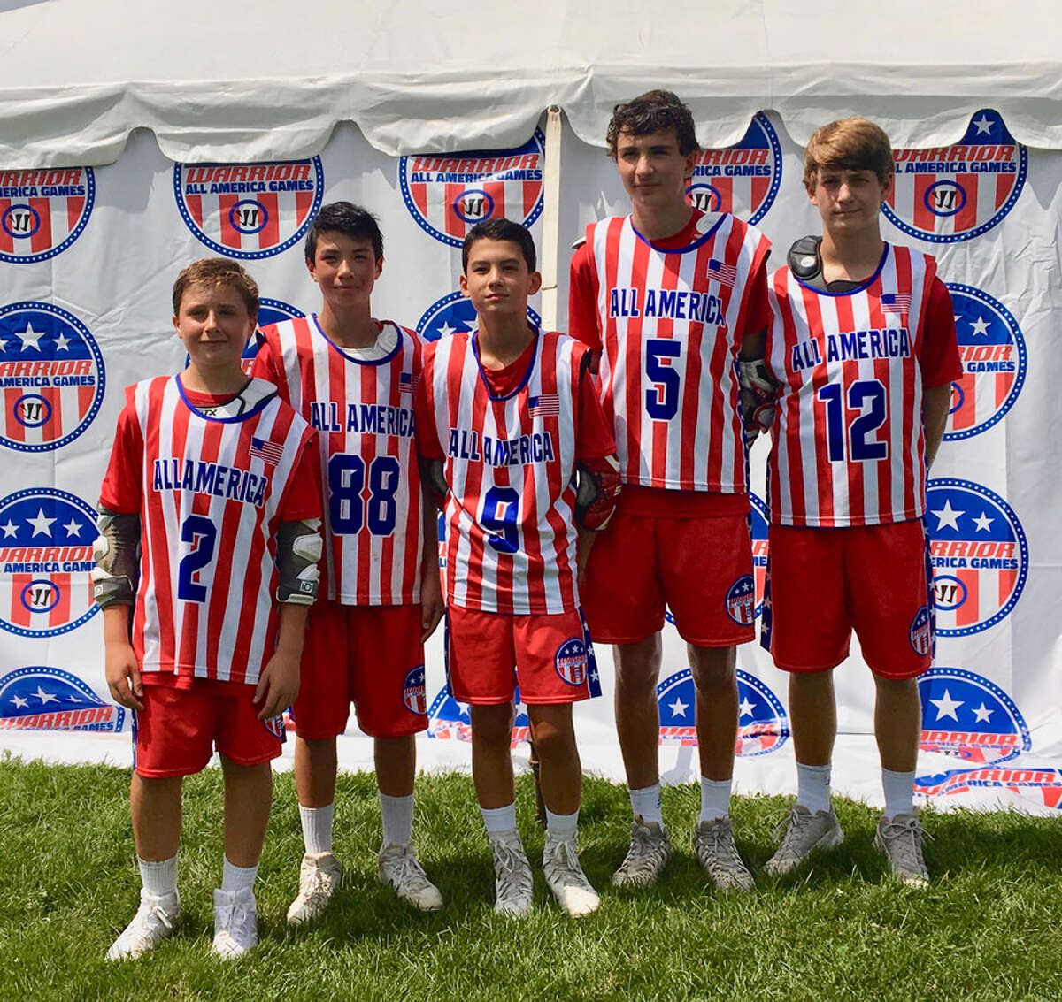 The Warrior Tri-State team had a New Canaan flavor, as five local players were on the roster for the Warrior All-American Games in July. From left are, Ryan Connelly (2), Cameron Wietfeldt (88), Griffen Getner (9), Alex Sotirhos (5), and Holden Busby (12).