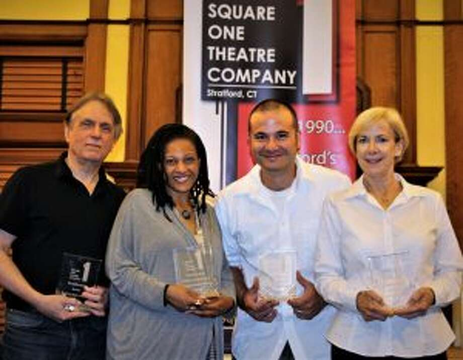 A New Canaan actress has won a Square One award. Subscriber Award winners for the 28th season of Square One Theatre are, from left, Alexander Kulcsar of Fairfield, Erma Elliott of Stratford, Ian Diedrich of Middlebury and Janet Rathert of New Canaan.