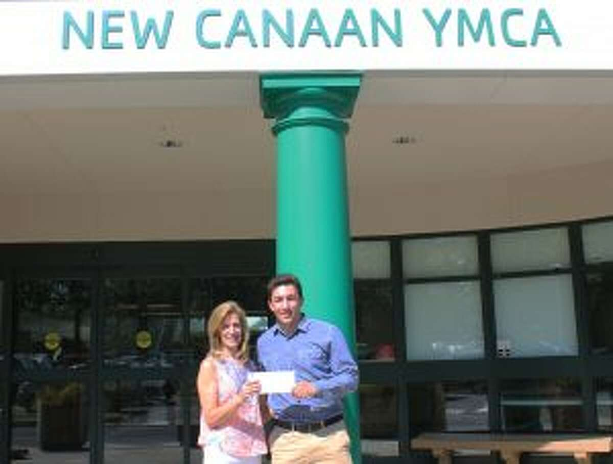 The New Canaan YMCA scholarship winner shows 'leadership,' and mental toughness. Mimi Conway with Griffin Conway Memorial Scholarship recipient, New Canaan High School graduating senior Luca Brillo. The scholarship was established in 2014 in her son's honor. - Contributed photo