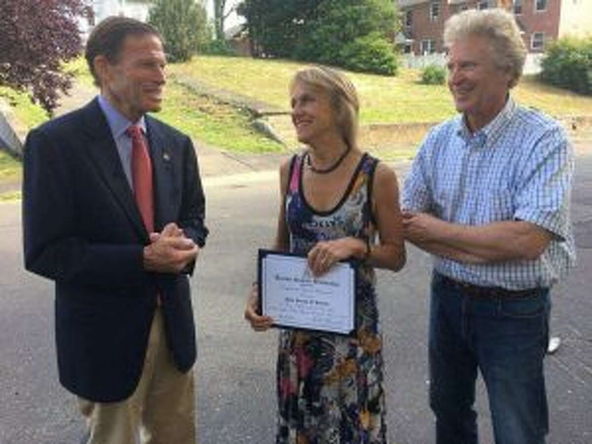 The Summer Theatre of New Canaan recently received a special recognition award from U.S. Sen. Richard Blumenthal (D-Conn.). Summer Theatre of New Canaan Artistic Director Melody Libonati and Executive Producer Ed Libonati are shown with Sen. Richard Blumenthal.- Contributed photo