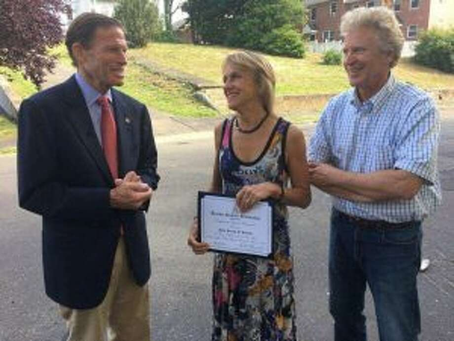 The Summer Theatre of New Canaan recently received a special recognition award from U.S. Sen. Richard Blumenthal (D-Conn.). Summer Theatre of New Canaan Artistic Director Melody Libonati and Executive Producer Ed Libonati are shown with Sen. Richard Blumenthal.— Contributed photo