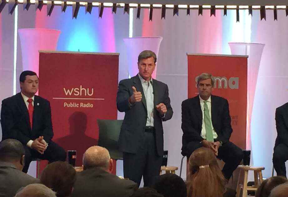 At the Republican gubernatorial debate Tuesday night at Sacred Heart University in Fairfield were, from left, Tim Herbst, Steve Obsitnik and Bob Stefanowski. Also on stage outside of this picture frame were Mark Boughton and David Stemerman. — Donald Eng photo