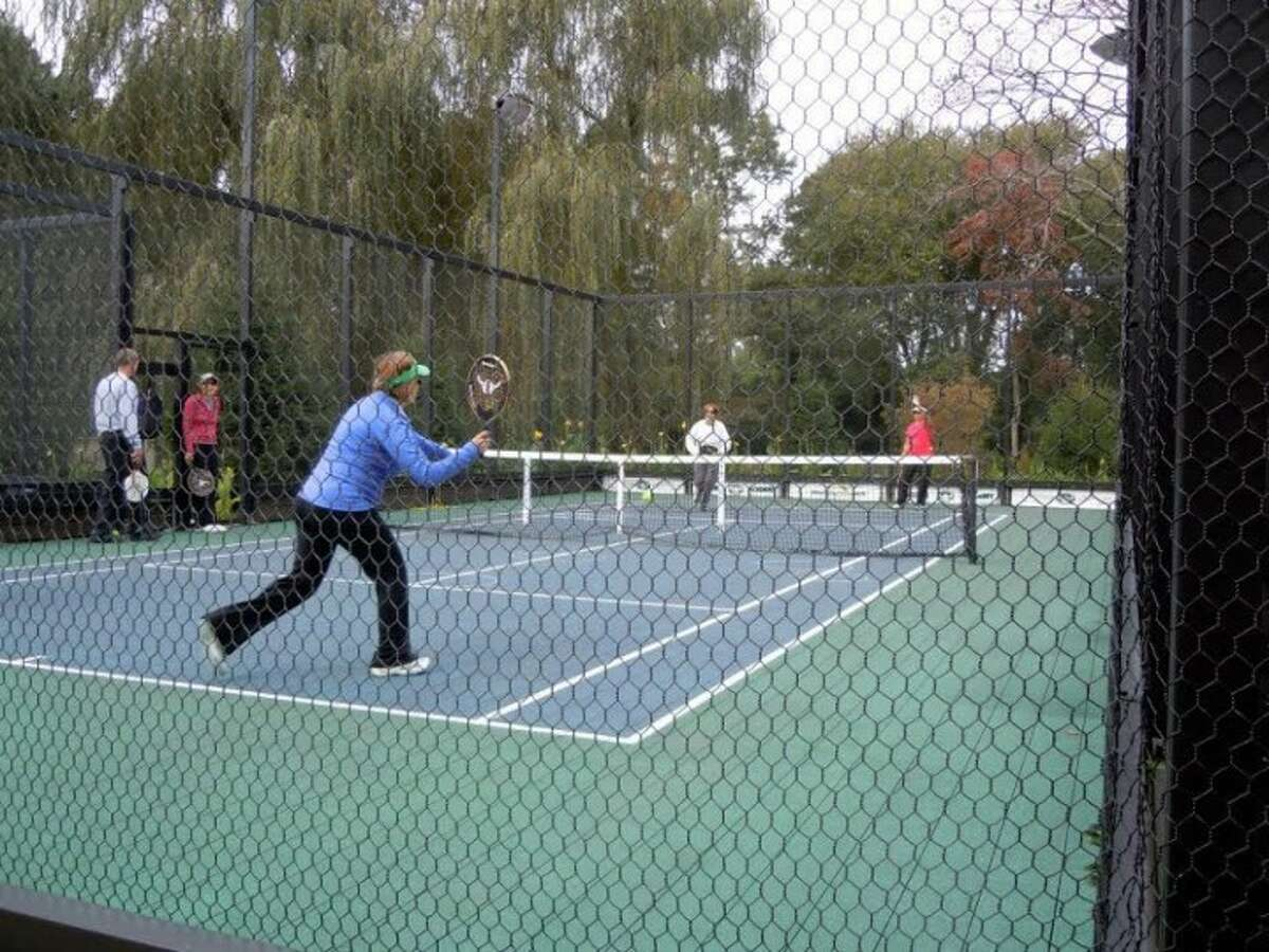 One of the Waveny Park paddle tennis courts in use. - Advertiser photo