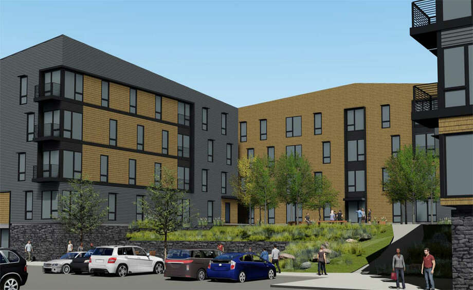 A rendering of a design for new construction affordable housing units at Canaan Parish.