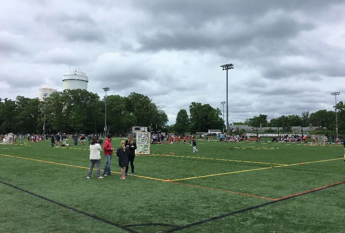 Looking southwest across the rebuilt Water Tower Field 1, with Lapham Community Center in background, during the Cochran Classic junior lacrosse tourney Sunday morning, June 3. - Greg Reilly photo
