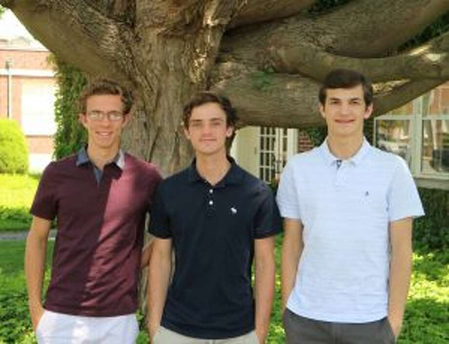 New Canaan High School seniors, from left, Tyler Brennan, Ryan Still, and Alex Orwicz, completed internships at the New Canaan Land Trust. — Contributed photo