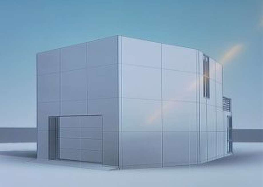 Rendering of two-story, modern-style detached garage. — Rendering from New Canaan Planning and Zoning Commission meeting