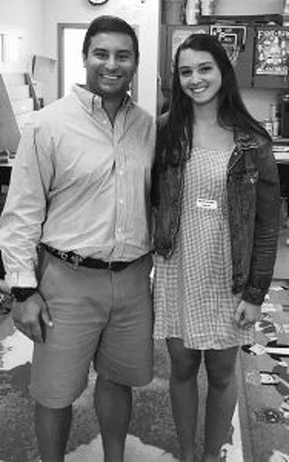 Katie Kennelly is shown recently with Bobby Rushton as an intern. Katie will be attending Elon in the fall to study elementary education. — Contributed photos