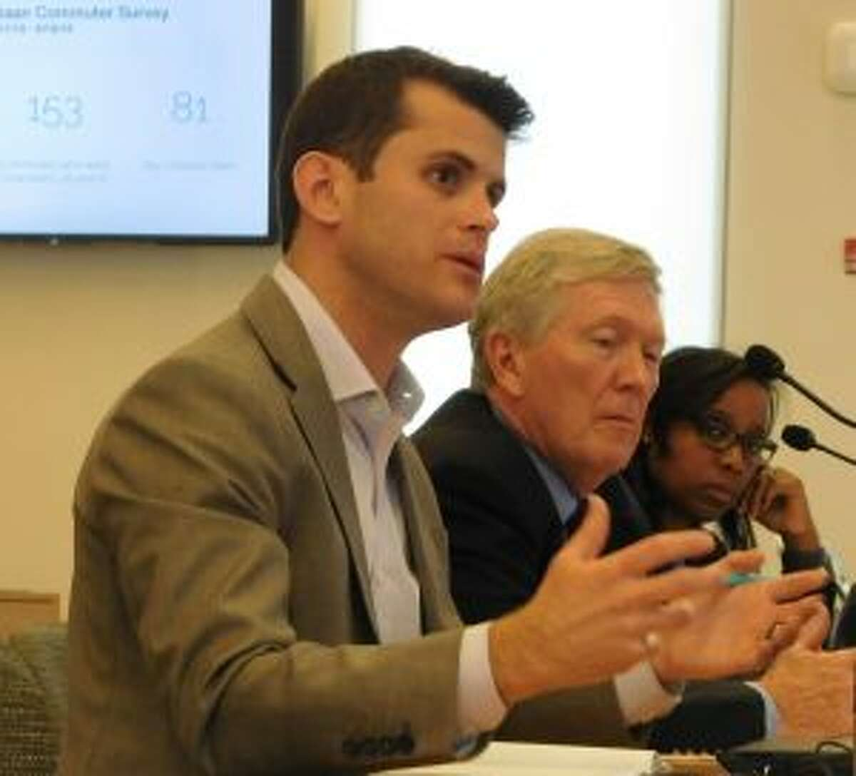 New Canaan: A program for commuter parking on private property is going to be tested. Addressing the Planning and Zoning Commission on June 26 were, from left, Boxcar CEO Joe Colangelo, First Selectman Kevin Moynihan and Interim Town Planner Keisha Fink. - Brad Durrell photo