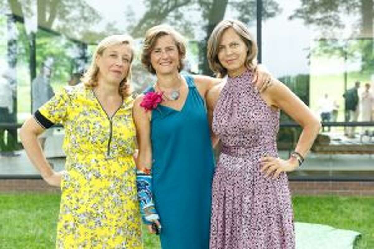 New Canaan local Sybille Campbell (center), with Veronica Bulgari and Carole Silverman. - Contributed photo by Neil Landino