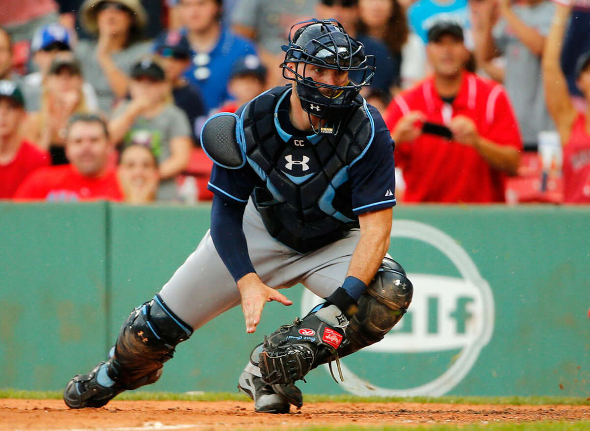 Catcher Curt Casali in action for the Tampa Bay Rays. - AP Photo/Winslow Townson